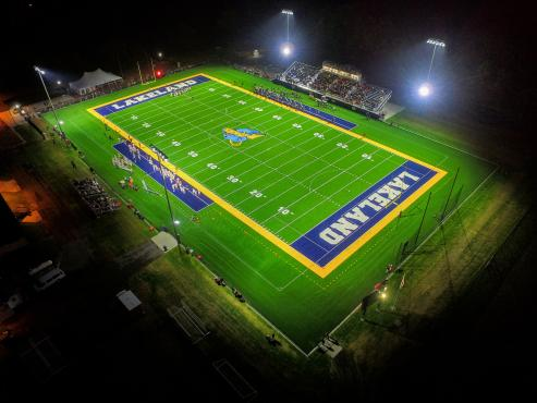 Drone shot of football field