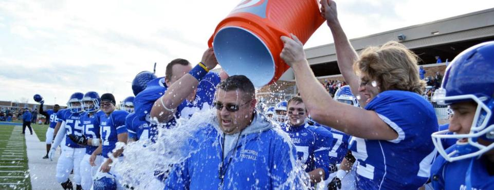Concordia football coach splash