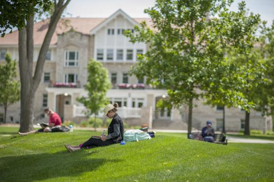 Studying on main lawn