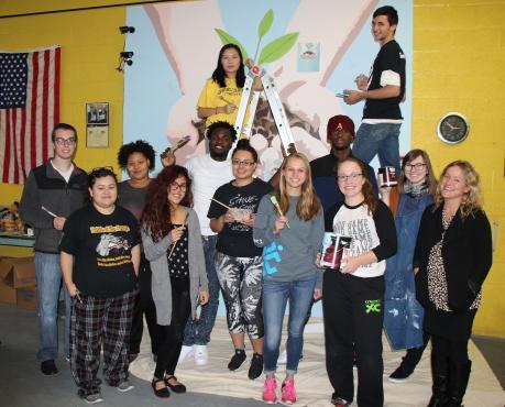volunteer mural at food pantry