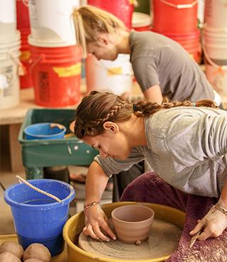 Students in pottery class