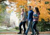 students walking on Ripon campus